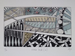 river bed (iv) - hand water coloured drypoint print