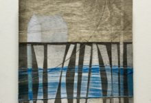 House on blue. Oil and acrylic on wood panel. 15 x 15cm.
