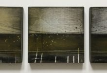 Emigrate – painted triptych on wood panels. 3 x 15cm. Oil and mixed media.