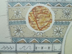 Close up map work/chine colle